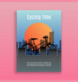 bike and bicycle sport in city time traveling vector image