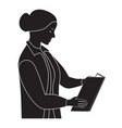 black silhouette of the woman reading the book vector image vector image