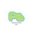 blue green alphabet letter fs f s logo icon design vector image vector image