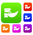 boot with buckle set color collection vector image vector image