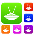 bowl of rice with chopsticks set collection vector image vector image