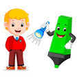 boy with big highlighter cartoon vector image