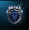 buffalo head mascot logo design vector image vector image