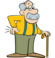 cartoon old man leaning on a cane vector image