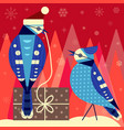 christmas birds card with blue jay couple vector image vector image