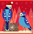 christmas birds card with blue jay couple vector image