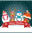 christmas card with cute dressed animals snowman vector image vector image