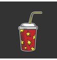 Colored soda fountain drink doodle drawing vector image