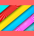 comic diagonal colorful banners vector image vector image