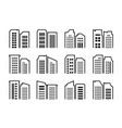 company icons set buildings and bank collection vector image vector image