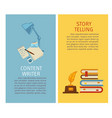 content writer and story telling papers and vector image vector image