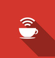 cup of coffee shop with free wifi zone sign icon vector image vector image
