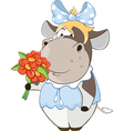 Cute Cow and Flowers Cartoon vector image
