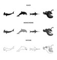 design of sea and animal icon collection vector image