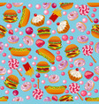 fast food seamless pattern with donuts burgers vector image