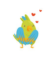 flat icon of enamored parrot character red vector image vector image