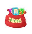 gifts red bag of santa claus vector image