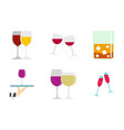 glass icon set flat style vector image vector image