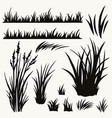 grass and plants black silhouettes set vector image