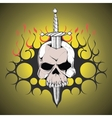 Hand drawn skull slain by a sword The symbol day vector image vector image