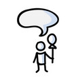 hand drawn stick figure child with balloon vector image vector image
