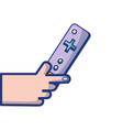 hand with controller object to video game vector image