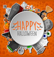 happy halloween round banner orange background vector image vector image
