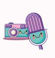 kawaii camera and microphone vector image vector image