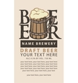 label beer with the wooden glas vector image vector image