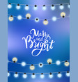 merry christmas blue background glittering garland vector image