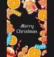 merry christmas greeting card with various vector image vector image