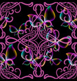 modern glowing damask 3d seamless pattern vector image