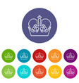 monarch crown icons set color vector image vector image
