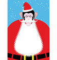 Monkey Santa Claus Monkey with beard and mustache vector image vector image