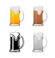 mug with beer set vector image vector image