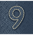 Number 9 made from jeans fabric vector image vector image