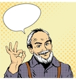 Old man shows OK hand sign in vector image