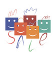 packages for sales in the form of smiling faces vector image vector image