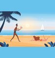 people relax on summer sea beach vacation in vector image vector image