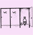 public toilet cubicle vector image vector image