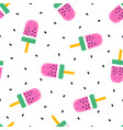 seamless ice cream pattern on white background vector image