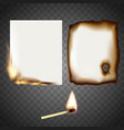 set a white sheet paper on fire and match vector image