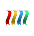 set of color banners ribbons with shadow on blank vector image