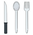 set of knife spoon and fork vector image