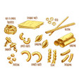 sketch icons of italian pasta variety vector image vector image