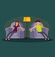 tired man and woman sitting in an easy chair vector image vector image