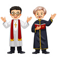 Two priests with happy face vector image