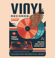 vinyl records shop or store retro poster vector image vector image