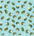 watercolor broccoli pattern vector image vector image