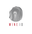 wine id concept with wine bottle and fingerprint vector image vector image